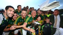 Kerry footballers celebrate their Munster final victory over Cork. The success of a small number of teams in provincial championships has sparked calls for  a two-tier system. Photograph: Cathal Noonan/Inpho