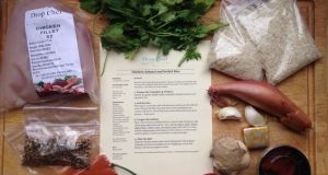 Ingredients for chicken achaari with basmati rice, along with cooking instructions