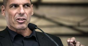 Former Greek finance minister Yanis Varoufakis: the  combative academic was sacked as finance minister last month after alienating euro zone counterparts with his lecturing style and divisive words. File photograph: Jean-Philippe Ksiazek/AFP/Getty Images