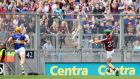 Shane Maloney scores Galway's winning point against Tipperary in the All-Ireland semi-final at Croke Park. Photograph: James Crosbie/Inpho