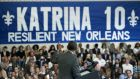 Ten years ago, Hurricane Katrina battered New Orleans, killing some 1,800 people and displacing 400,000 residents after a devastating flood was exacerbated by a slow government response. Mr Obama speaks at the Andrew P. Sanchez Community Center on August 27th, 2015. He travelled to the city to survey progress there. Photograph: AFP/Getty Images