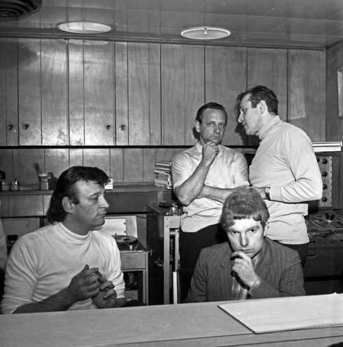 "Producer Bert Berns, musician Van Morrison and musical director Garry Sherman work in the booth at a Bang Records recording session in the studio  for Van Morrison's 1st album ""Blowing Your Mind!"" on March 28, 1967 in New York"