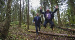 Taoiseach Enda Kenny with Centre Parcs UK chief executive Martin Dalby in Newcastle Woods during the announcement in April of 1,000 jobs for Co Longford with plans for a new Center Parcs in Ballymahon. File photograph: Brenda Fitzsimons/The Irish Times