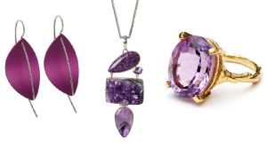 Purple leaf earrings, €90, Stonechat jewellers; Silver necklace with amethyst pendant, €230, Corona Silver; Beauty in the wild ring gold and amethyst, €160, Chupi.