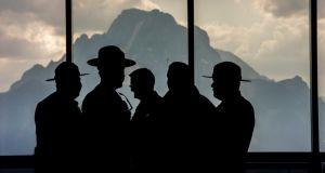 Park rangers at  Jackson Hole, Wyoming during Thursday's economic symposium.  Photograph: David Paul Morris/Bloomberg
