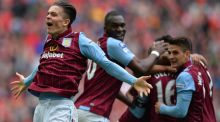 Aston Villa winger Jack Grealish celebrates his side's second goal in the FA Cup semi-final against Liverpool at Wembley Stadium last April. Photograph: Glyn Kirk/AFP Photo