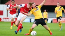 St Patrick's Athletic Sean Hoare and Derry's Ciaran O'Connor battle for possession. Photograph: Cathal Noonan/Inpho