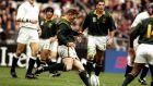 Jannie de Beer drops his fourth of five goals against England in the 1999 Rugby World Cup quarter-finals. Photograph: Getty
