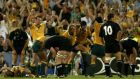Australia players celebrate at full time of their 2003 Rugby World Cup semi-final win over New Zealand. Photograph: Getty