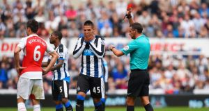 Aleksandar Mitrovic's red card after 16 minutes left Newcastle with an uphill battle against Arsenal. Photograph: Getty