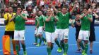 Ireland players and staff celebrate after they beat England 4-2 to win the bronze medal  at the EuroHockey Nations Championship at the Lee Valley  Centre in London London.  Photograph:  Simon Cooper/PA