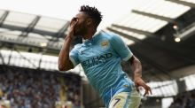 Raheem Sterling opened his Manchester City account in a 2-0 win over Watford. Photograph: Getty