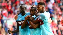 Diafra Sakho scored West Ham's third goal in their 3-0 win over Liverpool at Anfield. Photograph: Getty