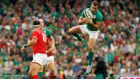 Ireland's Dave Kearney claims a high ball during the World Cup warm-up game against Wales at the Aviva Stadium. Photograph:   Cathal McNaughton/Action Images via Reuters/Livepic