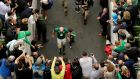 Paul O'Connell enters into the tunnel along with his son Paddy after playing his final Irish international at the Aviva Stadium. Photograph:   Ryan Byrne/Inpho