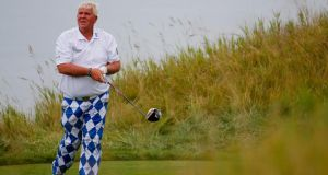 John Daly of the United States watches his tee shot on the 13th hole during the first round of the 2015 PGA Championship at Whistling Straits in Sheboygan, Wisconsin. Photo: Kevin C. Cox/Getty Images