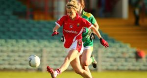 Cork's Valerie Mulcahy scores a goal during the  All-Ireland semi-final at Gaelic Grounds, Limerick. Photograph: Inpho
