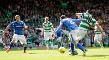 Celtic's Tom Rogic scores their second goal St Johnstone at Celtic Park. Photograph: Reuters