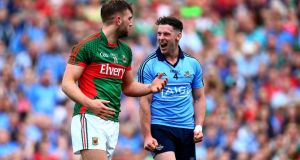 Mayo's Aidan O'Shea and Philly McMahon come together during the All-Ireland SFC semi-final draw. Photograph: Donall Farmer/Inpho