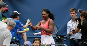 Serena Willimas ahead of the start of the US Open which begins on Monday. Photograph: EPA