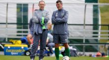Republic of Ireland manager Martin O'Neill and assistant manager Roy Keane look on during training. Photograph: Donall Farmer/Inpho