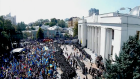 Drone footage captures violent clashes in Kiev