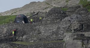 Production crew and sets on Skellig Michael to film Star Wars Episode VII, last year. Photograph Charles McQuillan/Getty Images