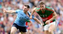 Philly McMahon battles with Mayo's Aidan O'Shea. Dublin had a plan for O'Shea and it worked well but may have have been really troubled had Barry Moran joined him in the full forward line. Photograph: James Crombie/Inpho