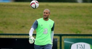 Darren Randolph during  Republic of Ireland training at  Abbotstown. Photograph: Donall Farmer/Inpho