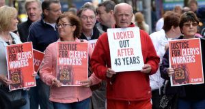 Clerys workers, members of Siptu, arriving for the creditors' meeting at the Gresham Hotel. Photograph: Cyril Byrne