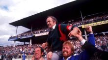 Galway manager Cyril Farrell is carried by jubilant supporters after Galway's victory over Tipperary in the 1988 All-Ireland hurling final. Photograph:  Ray McManus/Sportsfile