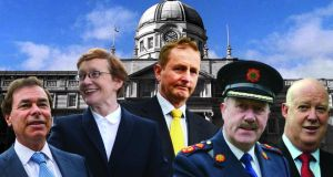 Main players in the controversy (from left): former minister for justice Alan Shatter, Attorney General Máire Whelan, Taoiseach Enda Kenny, former Garda commissioner Martin Callinan, and former secretary general of the Department of Justice, Brian Purcell.