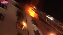 Firefighters take on Paris apartment fire