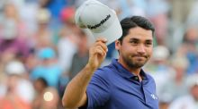 Jason Day of Australia celebrates on the 18th green after his six-stroke victory at The Barclays at Plainfield Country Club  in Edison, New Jersey. Photo:  Scott Halleran/Getty Images