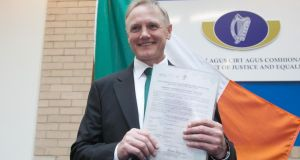 Ireland rugby  manager Joe Schmidt during a citizenship ceremony at the Department of Justice and Equality, St Stephen's, Green, Dublin, September 2nd, 2015. Photograph: Gareth Chaney/Collins