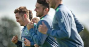 Kevin Doyle goes through the paces during training in Abbotstown on Wednesday: the player said he is looking  forward to showing Martin O'Neill what he can do if he is given the chance. Photograph: Morgan Treacy/Inpho