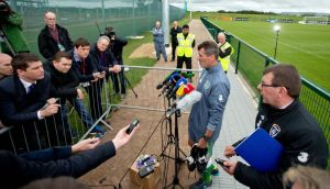 Roy Keane speaks to the media following Ireland training in Abbotstown yesterday. Photo: Morgan Treacy/INPHO