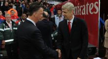 Both Manchester United manager Louis van Gaal and Arsenal manager Arsene Wenger failed to sign an established out-and-out centre forward during the last tranasfer window. Photo: David Price/Getty Images