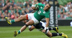 Simon Zebo has been named by Joe Schmidt at full-back to play against England in Ireland's Rugby World Cup warm-up match this Saturday. Photo: Billy Stickland/INPHO