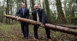 Parcs life: Taoiseach Enda Kenny with Martin Dalby of Center Parcs at the site for its proposed village, in Newcastle Woods in Ballymahon. Photograph: Brenda Fitzsimons