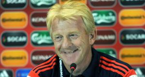 Scotland boss Gordon Strachan  at yesterday's  media conference. Photograph: Vano Shlamov/AFP/Getty Images