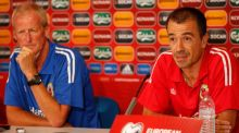 Gibraltar coach Jeff Wood and captain Roy Chipolina at a press conference in Faro ahead of the Euro 2016 qualifier against the Republic of Ireland. Photograph: John Sibley/Reuters.
