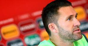 Robbie Keane at the Republic of Ireland press conference on Thursday: he said Ireland must not underestimate Gibraltar. Photograph: Donall Farmer/Inpho