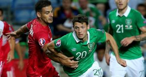 Republic of Ireland's Wes Hoolahan in action during the Euro 2016 Group D qualifier against Gibraltar in Faro, Portugal. Photograph:  Donall Farmer/Inpho