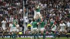 Ireland's flanker Peter O'Mahony wins the ball in the lineout during the international rugby union friendly match between England and Ireland, ahead of the 2015 Rugby World Cup. Photograph: Getty Images