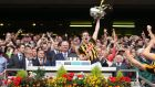 Kilkenny captain Joey Holden lifts the Liam MacCarthy Cup after his side beat Galway in the All-Ireland hurling final at Croke Park yesterday. Photograph: Inpho