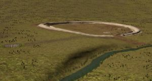 Artist's impression of the Durrington Walls superhenge and the nearby timber circle Woodenhenge. Image: Stonehenge Hidden Landscapes Project, Ludwig Boltzmann Institute