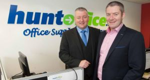John and Seamus Hunt, directors of Hunt Office.ie office supplies in Newcastle West, Co Limerick. Photograph: Kieran Clancy