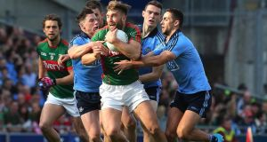 Dublin had a detailed game plan to cope with Aidan O'Shea, with Mayo setting up how Jim Gavin expected. Photograph: Lorraine O'Sullivan/Inpho