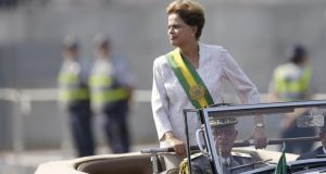 Brazil's president Dilma Rousseff stands in a vehicle during a civic-military parade in Brasilia to commemorate Brazil's Independence Day on Monday.  Photograph: Ueslei Marcelino/Reuters